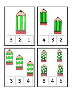 Patricks Day Pencil Number Cards and make your own puzzles. Kindergarten Math Worksheets, Preschool Printables, In Kindergarten, Learning Activities, Preschool Activities, Learning Numbers, Math Numbers, Montessori Math, Math For Kids