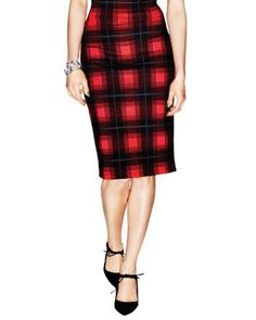 SS Knitted plaid pencil skirt
