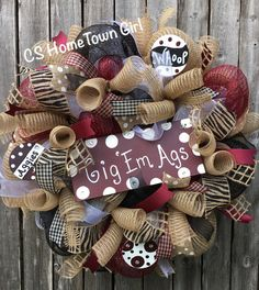 Gig Em Aggies Texas A&M Wreath Aggie Wreath by CSHomeTownGirl