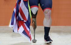 Jody Cundy of Great Britain celebrates after winning the Mixed C1-5 750m Team Sprint Time Track Cycling on day 4 of the Rio 2016 Paralympic Games at the Olympic Velodrome on September 10, 2016 in Rio de Janeiro, Brazil.