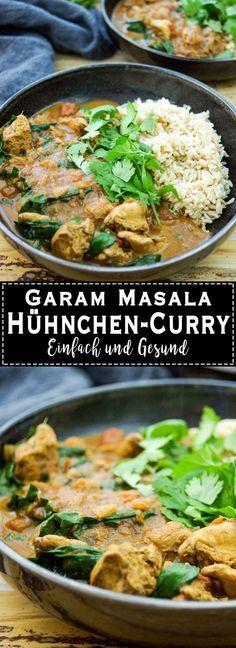 Dieses einfache Rezept für ein Garam Masala Hühnchen Curry mit Spinat ergibt ein aromatisches Abendessen. Es ist die leichte (low-fat) und gesunde Version des traditionellen indischen Butter Hühnchens. Dazu empfehle ich Vollkorn Basmati-Reis. Die Aromabringer sind viele Gewürze, Zwiebeln, Knoblauch und Ingwer. Die Tomaten liefern Umami (die fünfte Geschmacksrichtung) und die Kokosmilch macht das Hühnchen-Curry so wie ein typisch indisches Curry. Elle Republic