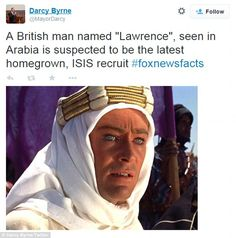 Convert? Lawrence of Arabia wearing a headdress with superficial similarities to the burqa...