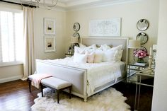 Glam master bedroom with pops of pink