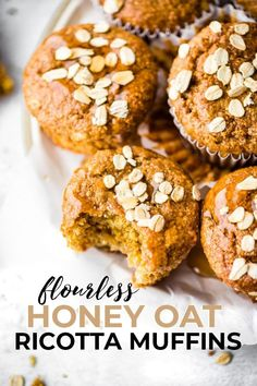These Flourless Honey Oat Ricotta Muffins are easy to make for a healthy breakfast or snack! A Gluten-free Ricotta Muffins recipe that's honey sweetened and rich in protein, fiber, and calcium. Flourless baking made quick and simple Healthy Muffin Recipes, Healthy Recipe Videos, Healthy Pastas, Healthy Muffins, Healthy Desserts, Ricotta Recipes Healthy, Protein Muffins, Protein Recipes, Protein Snacks