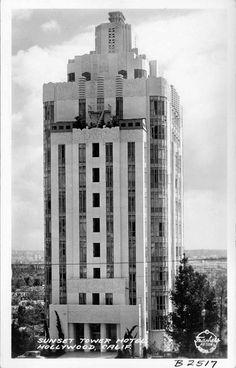 Sunset Tower Hotel.  Hollywood, California 1936 post card by stevesobczuk, via Flickr