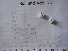 T's First Grade Class: Roll and Add Expand this to multiplication facts Early Finishers Math Classroom, Kindergarten Math, Teaching Math, Classroom Displays, Math Stations, Math Centers, Math Resources, Math Activities, Math Games For Kids