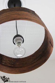 Knock Off Grain Sieve Light Fixture by The Wood Grain Cottage