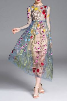 Floral Embroidered Dress With Cami Dress Click on picture to purchase!
