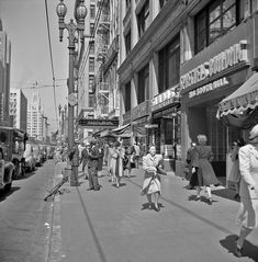 A busy day in downtown Los Angeles circa 1940s. The Cutts Building (now the Great Western Building) is at 706 South Hill Street. (Bizarre Los Angeles)