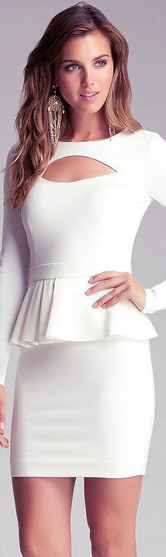 Peekaboo Ponte Peplum Dress Style