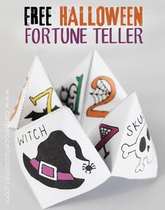 "Here's a fun Halloween activity and craft!  Print out our FREE fortune tellers for some spooky fun! We have several versions including full color and ones you can color yourself. You might remember these as ""cootie catchers"" if your old enough.   We show you how to fold them and use them. There's one you can add your OWN fortunes too also!"