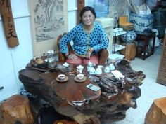 Tea table at a shop in Hong Kong.