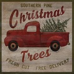 Southern Pine Christmas Trees, Retro style sign, 8x8, Printable download.