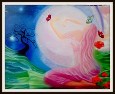 lady butterfly painting