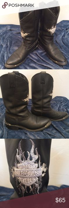 Harley-Davidson Motorcycle Boots w/ Steel Accents *Authentic Harley-Davidson Motorcycle Boots  *Steel accents at the toes and heels *Size: 10 1/2 *Made out of leather *These boots have been worn, so they show wear in the interior and some scuffs/marks on the exterior-see pics and ask any questions before buying *Silver emblem stitched on front of both boots  *Reach out with any questions, happy poshing! Harley-Davidson Shoes Boots