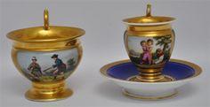 2 HAND PAINTED & GILT OLD PARIS PORCELAIN CUPS