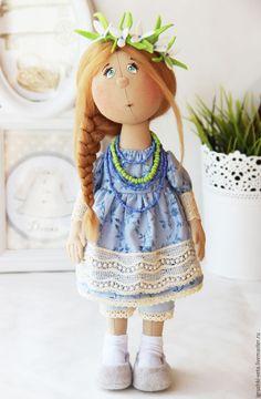 Купить Майя. Текстильная коллекционная кукла. - голубой, подснежники, весна, весенняя куколка, весеннее настроение
