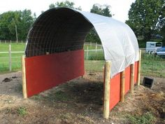 How to Build a Run-In Shelter for Horses, Cows, Goats, etc. for under 300.00 dollars. This would be a great temporary shelter for the big field.