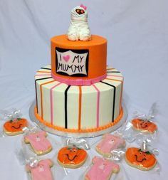 """Baby shower cake with a """"I love my Mummy"""" theme."""