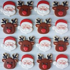 christmas cookies royal icing Weihnachtspltzchen Santa and Reindeer Christmas Sugar Cookies Decorated With Royal Icing. Cutters From The Sweet Designs Shoppe. Santa Cookies, Galletas Cookies, Christmas Sugar Cookies, Cookies For Kids, Iced Cookies, Cute Cookies, Holiday Cookies, Christmas Treats, Reindeer Christmas