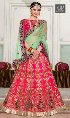 Vibrant Hot Pink Color Resham Work Silk Lehenga Saree Genuine magnificence will come out through the dressing style with this hot pink banglori silk lehenga saree. The embroidered, patch border and resham work looks chic and aspiration for any function.