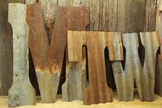 Rusty Tin Letters FREE Shipping Monogram rustic by CustomCutDecor