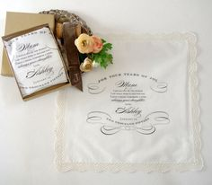 This beautiful ivory, 12 inch X12 inch, cotton, lace trimmed handkerchief is printed with a sweet sentiment from a daughter to her mother on