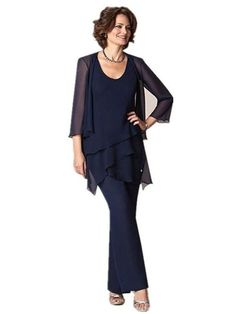 Fenghuavip Scoop Neck 3/4 Sleeves Navy Chiffon Bridal Mother Pants Suits 3 Pcs (10) Scoop Neck, Chiffon, Ruffle Blouse, Suits, Bridal, Navy, Sleeves, Stuff To Buy, Clothes