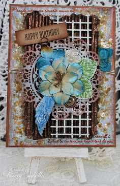 Scraps of Elegance scrapbook kits: DIY Rustic Mixed Media country-chic handmade card video tutorial, with Jacquard Lumiere, Inka Gold, and Ice Resin Iced Enamels. Tracey Sabella created this gorgeous card with our Nov. Tracey's Country Kitchen kit, and did a Youtube step-by-step video. Find our kits at www.scrapsofdarkness.com