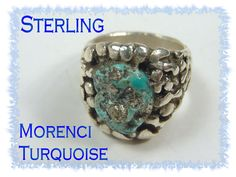 Arizona Morenci TURQUOISE - Navajo Sand Cast Sterling Silver Ring - Vintage Estate  @@ FREE SHIPPING @@