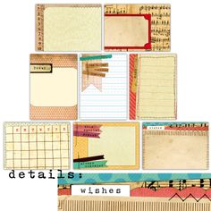 Handmade Layers Note Tags - set of 8