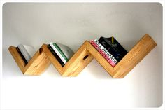 Floating Wood Zig Zag Shelf by IrvenInterior on Etsy - would be cool to make something similar with a board across the top and another row to create system to organize tights and belts