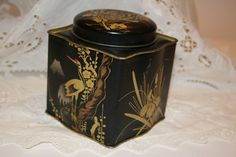 Vintage Black and Gold Tin   Vintage Duds and Decor
