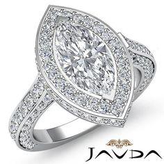 Stunning-Marquise-Shape-Diamond-Engagement-Pave-Ring-GIA-I-VS2-Platinum-2-6-ct