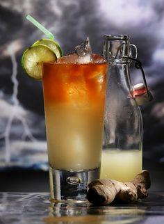 Dark 'n' Stormies, just in time for summer! I like to make them with extra ginger beer: 2 shots black rum, 5 shots ginger beer, 1 shot lime juice