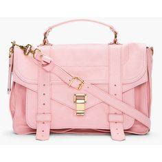 PROENZA SCHOULER Piglet Pink Leather Fold-over Messenger Bag-$1,695 Tonal paneling throughout. Brass-tone hardware. Foldover flap at main compartment with belt details and hinged, logo-embossed clasp closure. Reinforced leather carry handle. Removable adjustable leather shoulder strap with lobster claw clasps. Zippered welt pocket and patch pocket with magnetized press-stud closure under fold-over flap...SEE DETAILS HERE: http://www.designerhandbagspurses.net/brief-cases-and-laptop-bags/