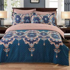 Flowers Europe Style Double Bedding Set Light Blue And Brown Bed Cover Quilt Jacquard Duvet Cover Double Bedding Sets, Best Bedding Sets, Cheap Bedding Sets, Bedding Sets Online, Queen Bedding Sets, Luxury Bedding Sets, Down Comforter, Comforter Cover, Duvet Bedding