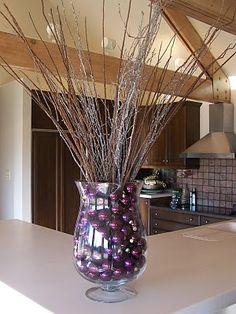 vase + christmas balls + twigs