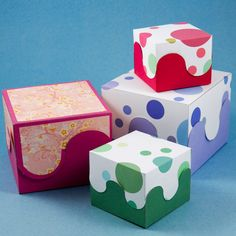 How to make your own boxes. There are many different options here! This picture: Interlocking curves boxes.