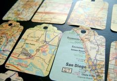 This set of 20 gift tags are made from a vintage Atlas.    Use these tags to adorn gifts, as scrapbook embellishments or for making ATCs or other craft projects.    Size is roughly 1 1/2 x 2 1/2 in.