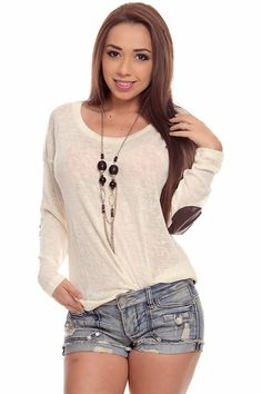 $13.99 Be the first to review this product » This top features long sleeves with leather elbow pad design on elbows, scoop neckline, knit top, light weight and super cute. Imported. #lollicouture #chic #love #croptop #summerfashion #fashionista #summerstyle
