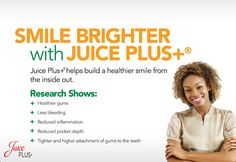 "Who wouldn't want a brighter smile? Support dental health with Juice PLUS+.  ""Use a smile to change the world, but done let the world change your smile!""  #JPCANADA"