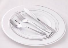 Wedding Disposable Plastic Plates Silverware with Masterpiece Coffee cups option  sc 1 st  Pinterest & Wedding Party Disposable Plastic Plates and cutlery \u0026 wine cups w ...