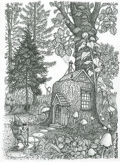 Stumptown Lodgings by Bill Perkins Colouring Pics, Coloring Book Pages, Coloring Sheets, Fairy Drawings, Black And White Drawing, Colorful Drawings, Gnomes, Halloween, Artwork