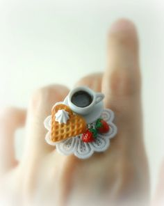 Love Waffle and Hot Cocoa Ring. Food Jewelry. Handmade Miniature Food Scene Jewelry in Polymer Clay.