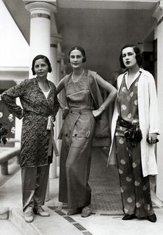 Schiaparelli Beach Pyjama Fashions, 1929, by Elsa Schiaparelli. 20s 30s vintage style lounge pajamas pants wide leg 20s 30s couture photo print ad