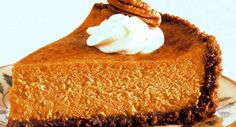 Pumpkin pie and cheesecake lovers will both choose this dessert at your holiday table. #recipe