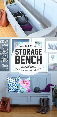 Woodworking Bench How to build a DIY Storage Bench via Jen Woodhouse - How to build a DIY storage bench for your mudroom, foyer, or hallway. Free building plans by Jen Woodhouse. Diy Furniture Projects, Diy Wood Projects, Furniture Plans, Home Projects, Furniture Storage, Wood Furniture, Trendy Furniture, Furniture Refinishing, Handmade Furniture