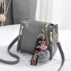Women Bear Pendant Crossbody Bag PU Leather Shoulder Bag Solid Handbag is designer, see other cute bags on NewChic. Cute Mini Backpacks, Stylish Backpacks, Mini Mochila, Girls Bags, Cute Bags, Luxury Bags, Mini Bag, Purses And Handbags, Fashion Bags