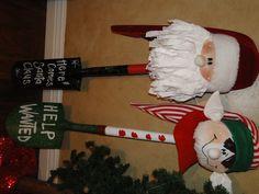 shovels/dont like the shovels but would make ornaments with santa & elf faces